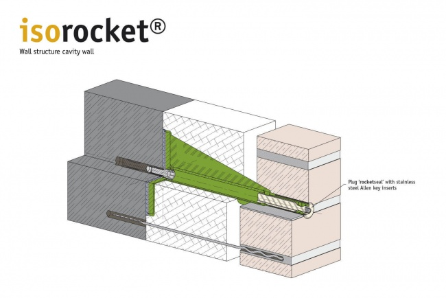 Structure of a 2-shell masonry with isorocket Concrete. Condition shortened with a seal (rocketseal)